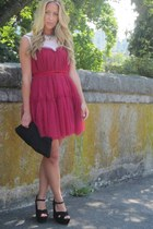 ruby red tulle Chicwish dress - black westii Steve Madden wedges