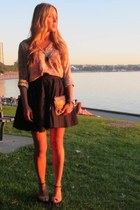 black cotton Blaque Label skirt - camel silk Zara shirt