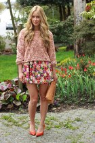 pink 3-d American Apparel jumper - red floral beginning boutique dress