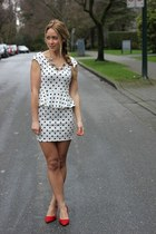white polka dot Windsor Store dress - red scarr pump Aldo heels