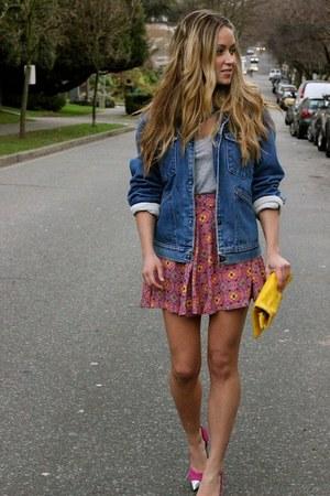 bubble gum pattern beginning boutique skirt - yellow clutch Clare Vivier bag
