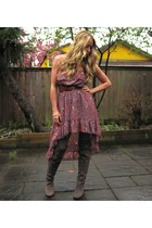 charcoal gray suede roberto vianni boots - magenta lulus Red Berry dress