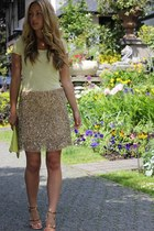gold sequined Zara skirt - mustard rosegold Zara sandals