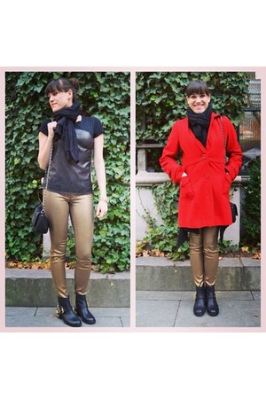 gold Level 99 jeans - black Vince Camuto boots - red Nine West coat