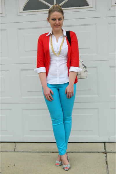 madewell jeans - Express shirt - Forever 21 cardigan