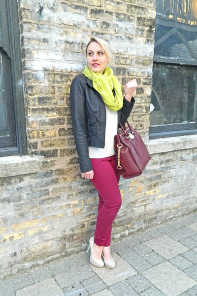 white madewell blouse - maroon Express jeans - black Express jacket