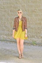 olive green Langford Market dress - brown Express jacket - beige Aldo wedges
