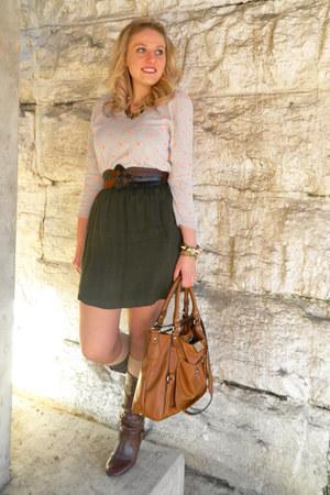 neutral madewell sweater - dark brown Steve Madden boots - brown Jenna Kator bag