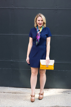 blue Wayf dress - Langford Market purse