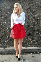 red asos skirt - white Express sweater - nude asos tights