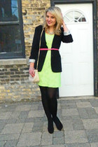 black composd blazer - chartreuse Langford Market dress - light pink asos bag