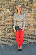 nude Urban Outfitters blouse - red BDG jeans - black asos bag - nude asos belt