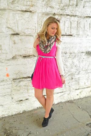 hot pink madewell dress - white Urban Outfitters cardigan - aquamarine asos belt