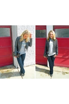 faux leather Express jacket - JBrand jeans - clutch asos bag - Guess pumps