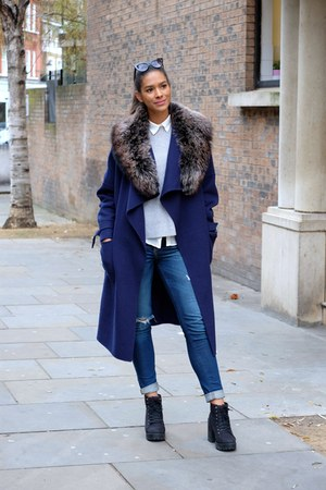 black H&M boots - blue Zara coat - blue hollister jeans