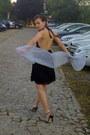 Zara-black-backless-dress-dress-parfois-periwinkle-scarf-with-tinny-diamonds-s