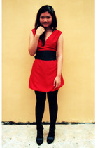 red dress - black platforms Gitchy shoes - black stockings