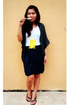 gray cardigan - white top - blue skirt - black - yellow necklace