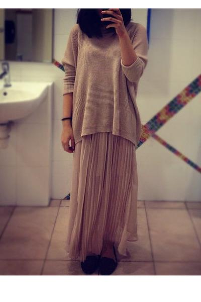 maxi skirt skirt - sweater - leopard print loafers