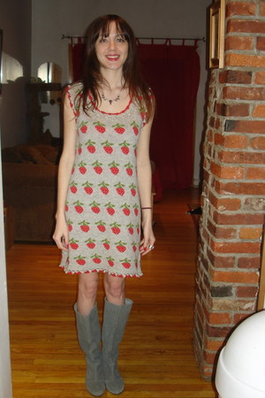 gemstone necklace - heather gray Urban Outfitters boots - red knit dress