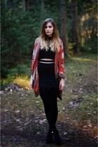 black dressvenus boots - black Front Row Shop top - burnt orange H&M cardigan