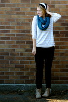 skinny black Old Navy jeans - American Eagle hat - blue knitted Forever 21 scarf