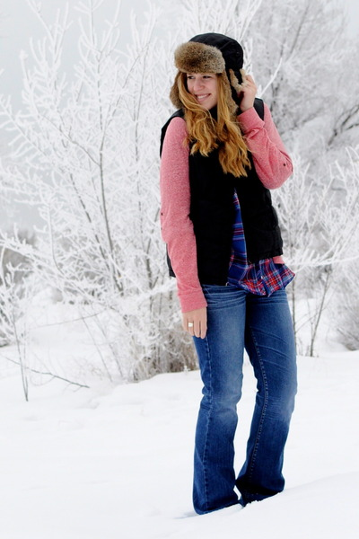 plaid H&M blouse - pink Gap sweatshirt