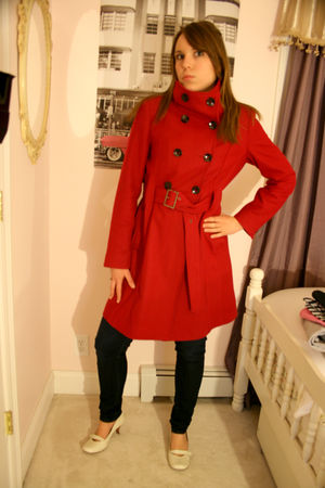 red Black Rivet coat - blue jeans - white shoes