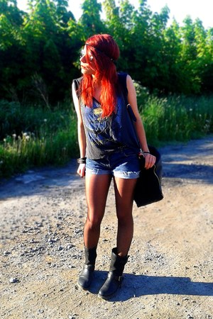black leather boots - navy jeans shorts - dark gray t-shirt