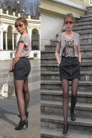 silver H&M t-shirt - gray H&M skirt - white vintage accessories