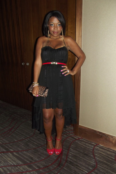 Black Dress Dresses Leopard Print Bags Red Belts Red Shoes
