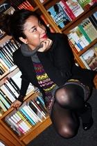 black vintage blazer - Forever 21 dress - black Forever21 shoes