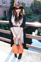 hat - black cardigan - beige H&M dress - black Forever 21 shoes - brown Kenneth