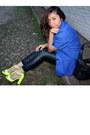 Chartreuse-zara-sandals-blue-vintage-blazer