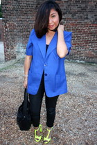 chartreuse Zara sandals - blue vintage blazer