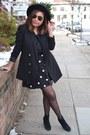 Straw-forever-21-hat-black-h-m-blazer-polka-dot-h-m-skirt