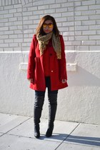 red JCPenney coat - black faux leather Forever 21 boots