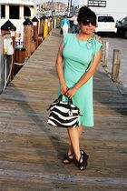 green vintage dress - brown dooney bourke accessories - brown Aldo shoes