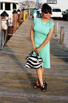 green vintage dress - brown dooney bourke accessories - brown Aldo shoes