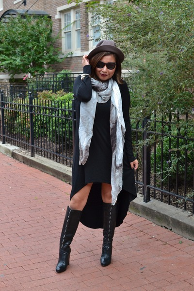 karen millen scarf - Rebecca Sanver boots - Forever 21 dress