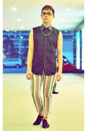 black silk collar Thrift Store top
