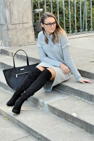 black CCC boots - heather gray knit Bershka dress