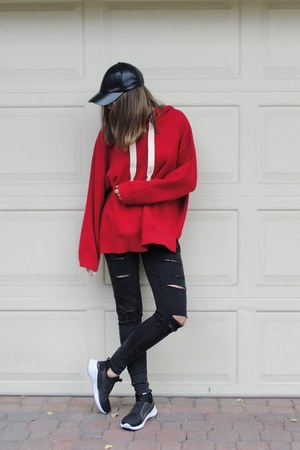 red knitted Zara hoodie - black ripped jeans Bershka jeans