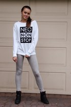 heather gray Adidas leggings - white Adidas sweatshirt - black Adidas wedges