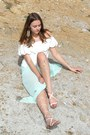 Light-blue-h-m-skirt-white-mango-top-beige-mango-sandals