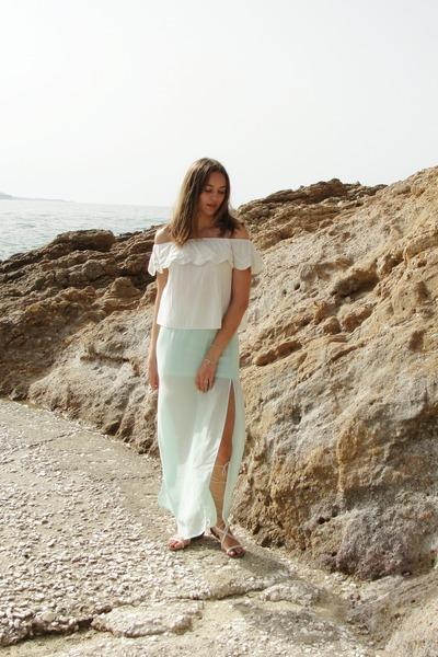 light blue H&M skirt - beige Mango sandals - white Mango top