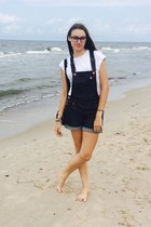 navy denim River Island romper - black Adidas bag - white Mango top