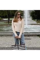 light pink Zara shoes - sky blue jeans - navy bag - neutral jumper