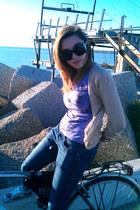 light purple Disney shirt - nude tartan H&M shoes - navy skinny Bershka jeans