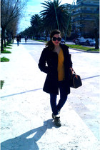 camel boots - black H&M coat - dark brown Louis Vuitton bag - navy Bershka pants